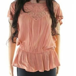 Taylor & Sage Buckle Peach Pink Ruffle Lace Trim S